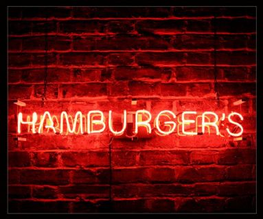 Hamburgers Red Neon Sign